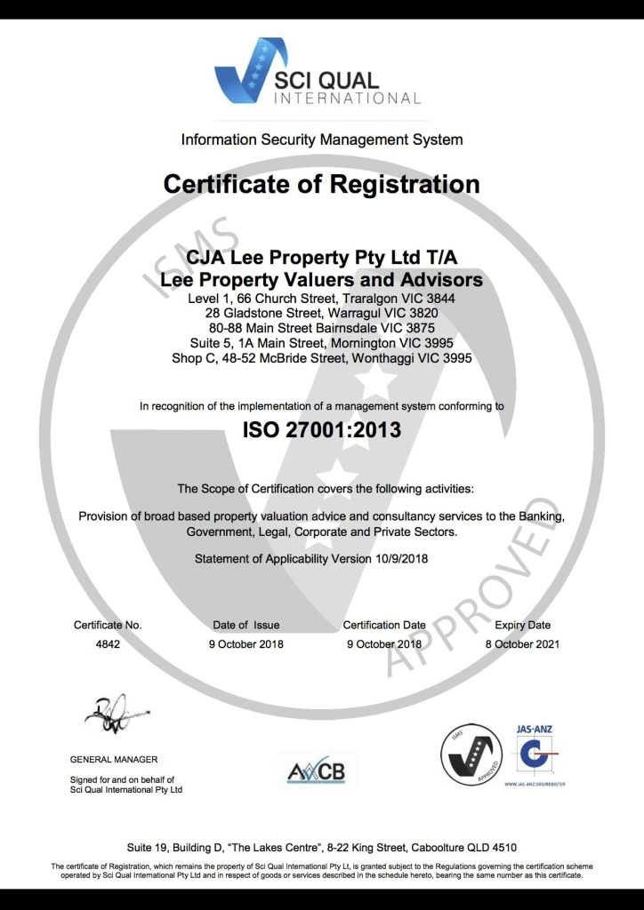 LPVA SQI ISO27001 eCert 2018 min 724x1024 - Lee Property Valuers & Advisors