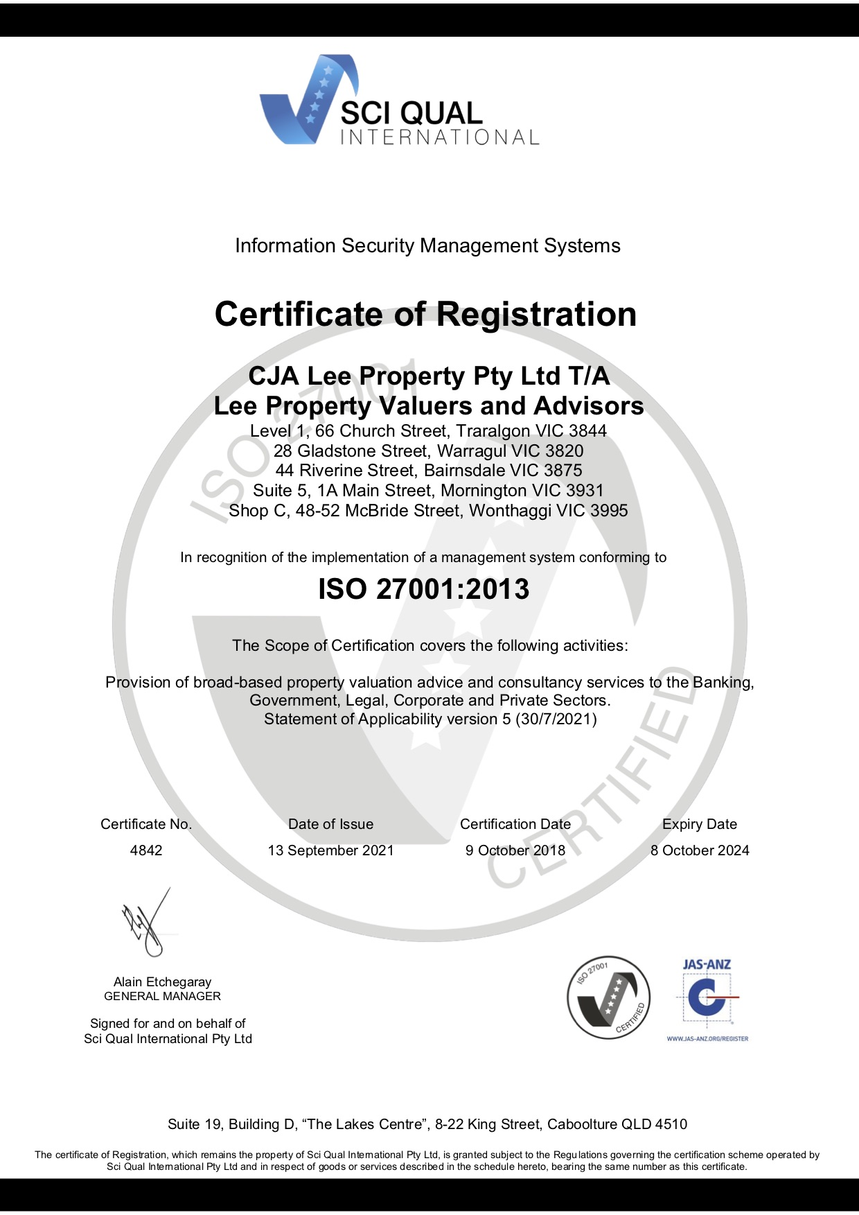 Lee Property Valuers ISMS ISO27001 eCert 2021